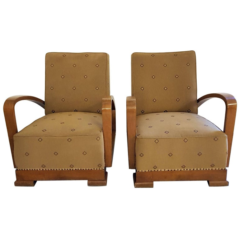 Pair of Fine Crafted Art Deco Armchairs in Nut Wood and Fabric Upholstery