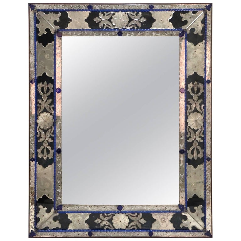 Antique Venetian Mirror In Blue Clear And Black Murano Glass For