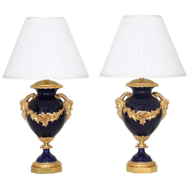 Neoclassical Sevres Style Cobalt Blue Porcelain Lamps Gilt Bronze Accent