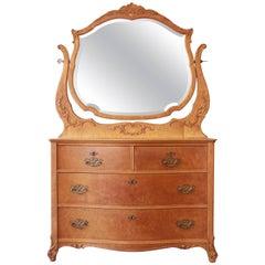 Early Widdicomb Furniture Bird's-Eye Maple Dresser with Bevelled Mirror