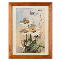 French Watercolor of Daisies by R.Exbrayat