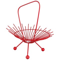 Vintage French Red Metal Basket, 1960s