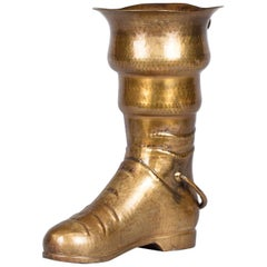 Boot Shaped Brass Umbrella Holder, France Early 1900s