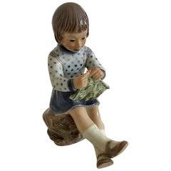 Dahl Jensen Porcelain Figurine of Knitting Girl No. 1197