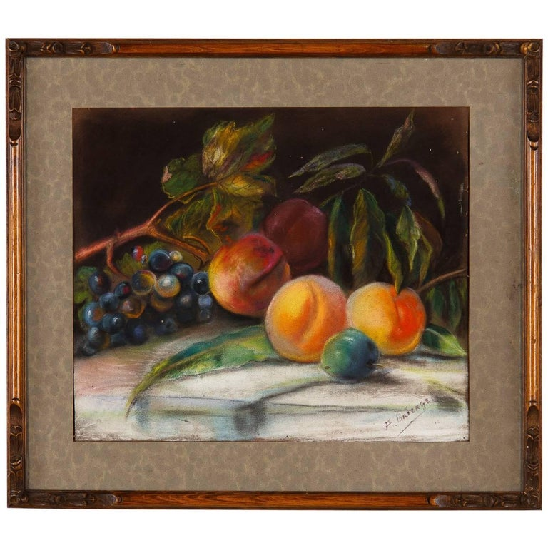 French Art Nouveau Frame with Pastel Still Life, 1910s