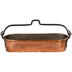 French Copper Poissoniere with Iron Handle, Late 1800s