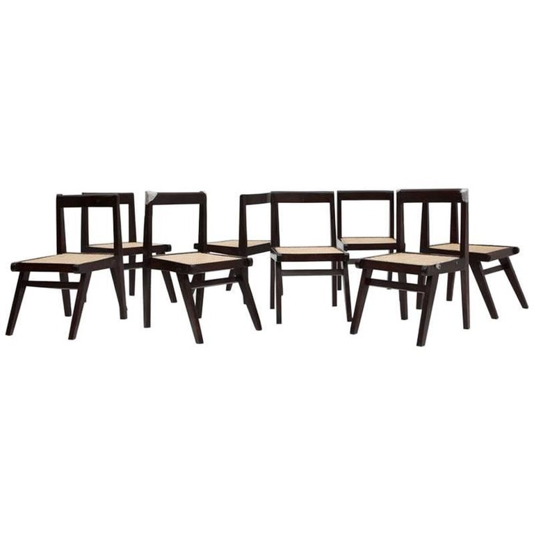 Pierre Jeanneret, Set of Eight Demountable Teak Chairs