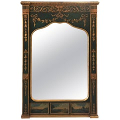 Italian Hand-Painted and Parcel-Gilt Trumeau Mirror