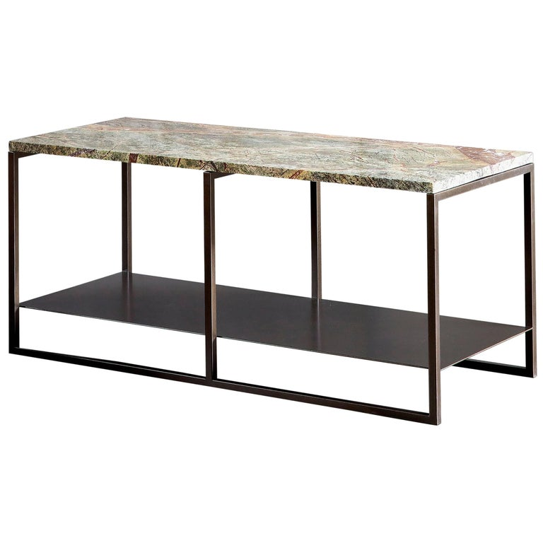 Contemporary Eros Coffee Table in Marble and Powder Coated Steel For Sale