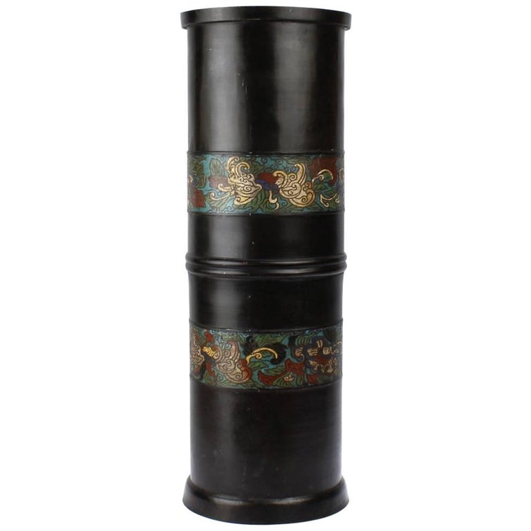 Large Antique Japanese Bronze Champlevé Enamel Umbrella Stand or Floor Vase