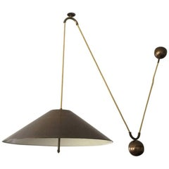 Large Mid Century Counterweight Brass Pendant Lamp