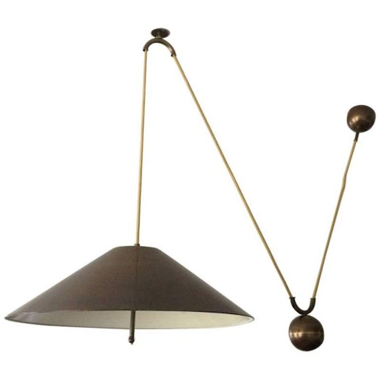 Large Mid Century Counterweight Brass Pendant Lamp