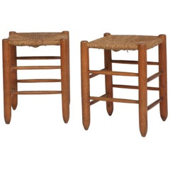 Charlotte Perriand, Pair of Rattan Stools No 17