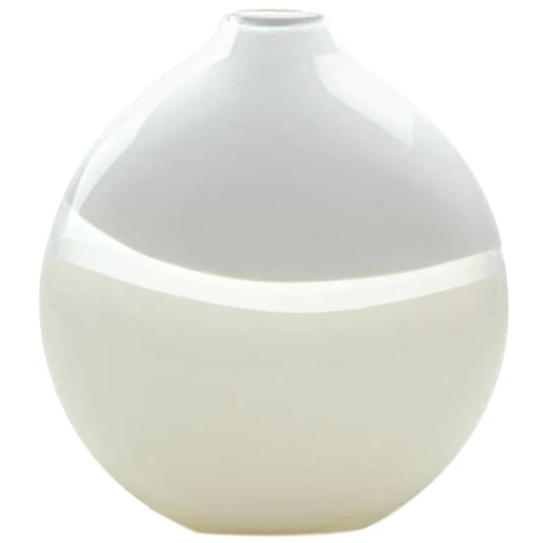 Large Lattimo Whiteivory Flat Round Vase By California Designer