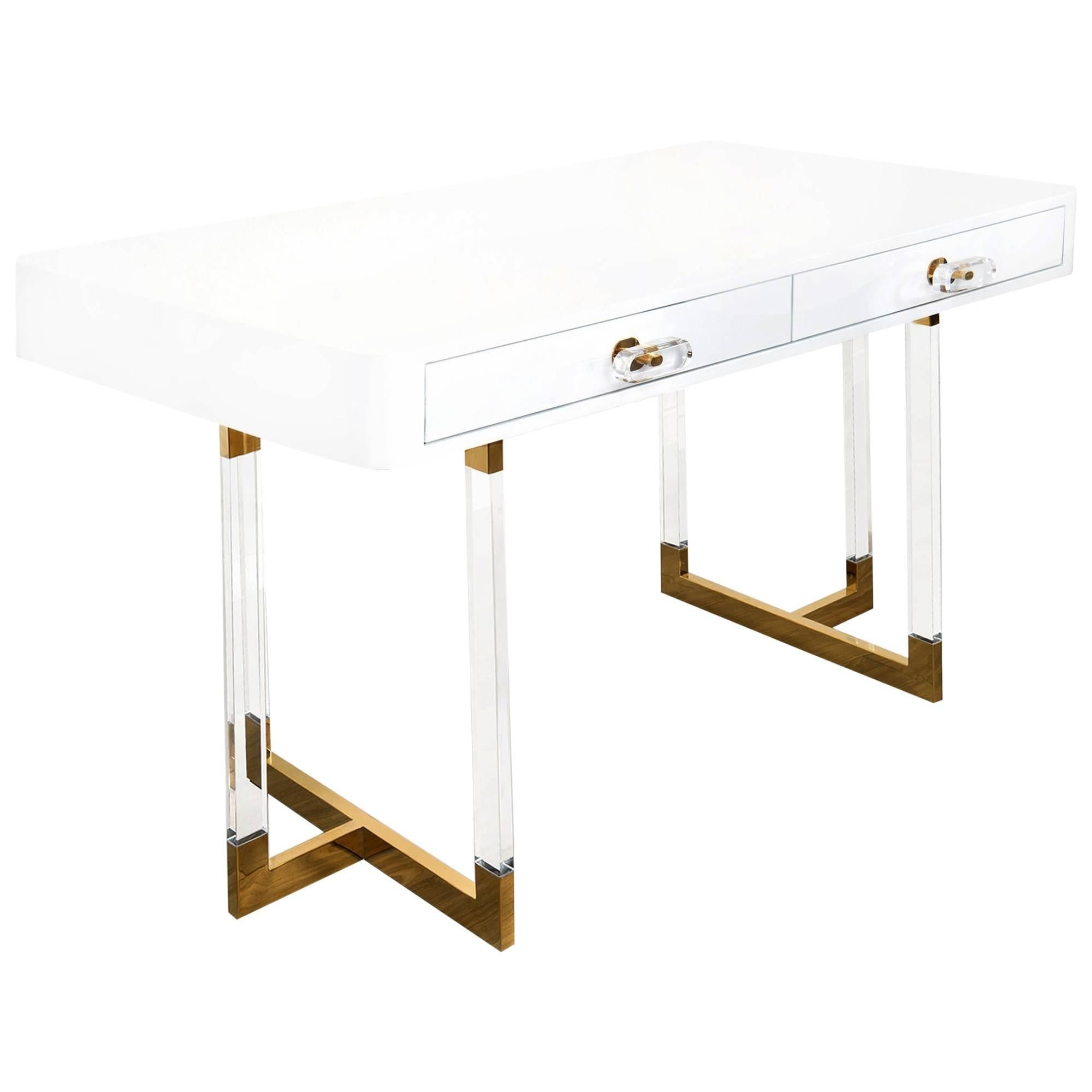 White Lacquered Desk With Lucite And Brass Geometric Legs For Sale