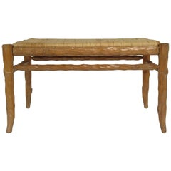 1970s Faux Bois Wood Bench with Rush Seat