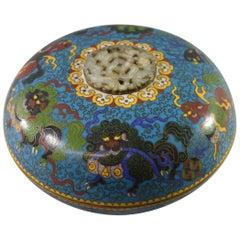 Antique Chinese Cloisonne Covered Bowl White Jade Medallion