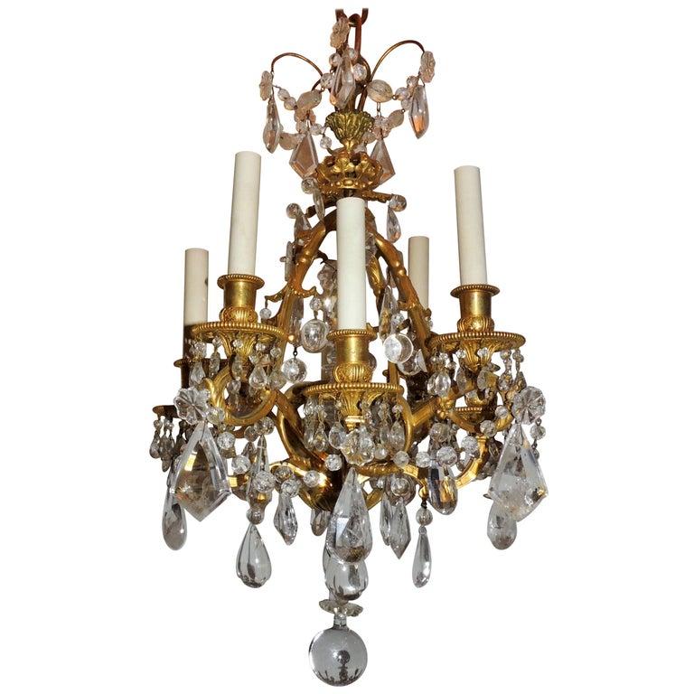 Baguès French Dore Bronze Crown Rock Crystal Petite Eight-Light Chandelier