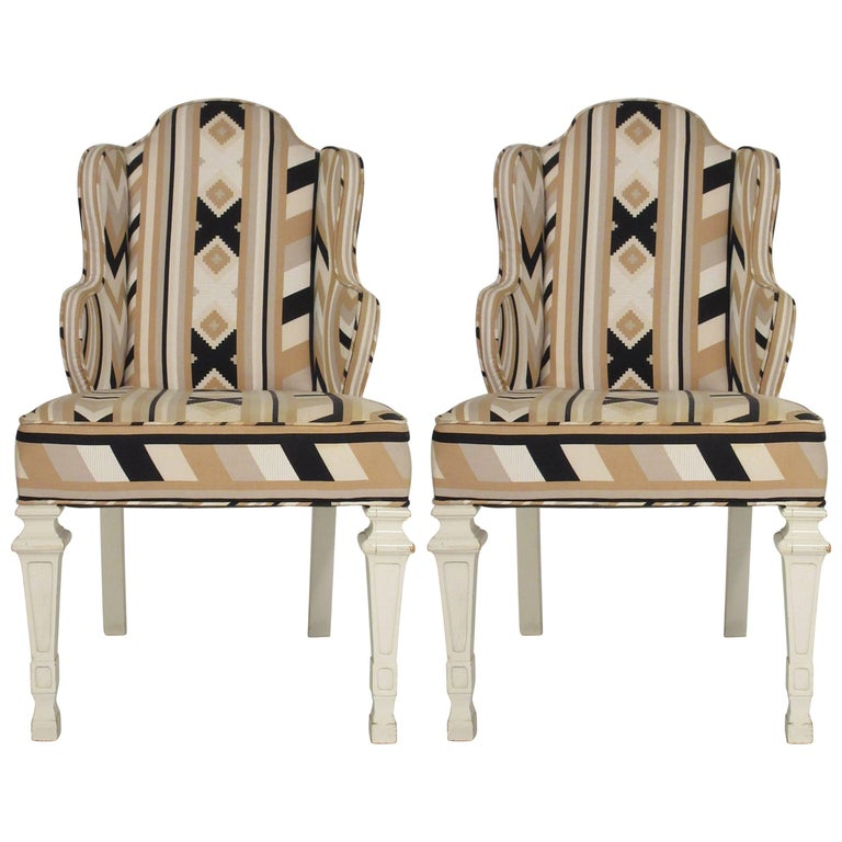 Pair of 1960s Whimsical Petite Wing Back Chairs