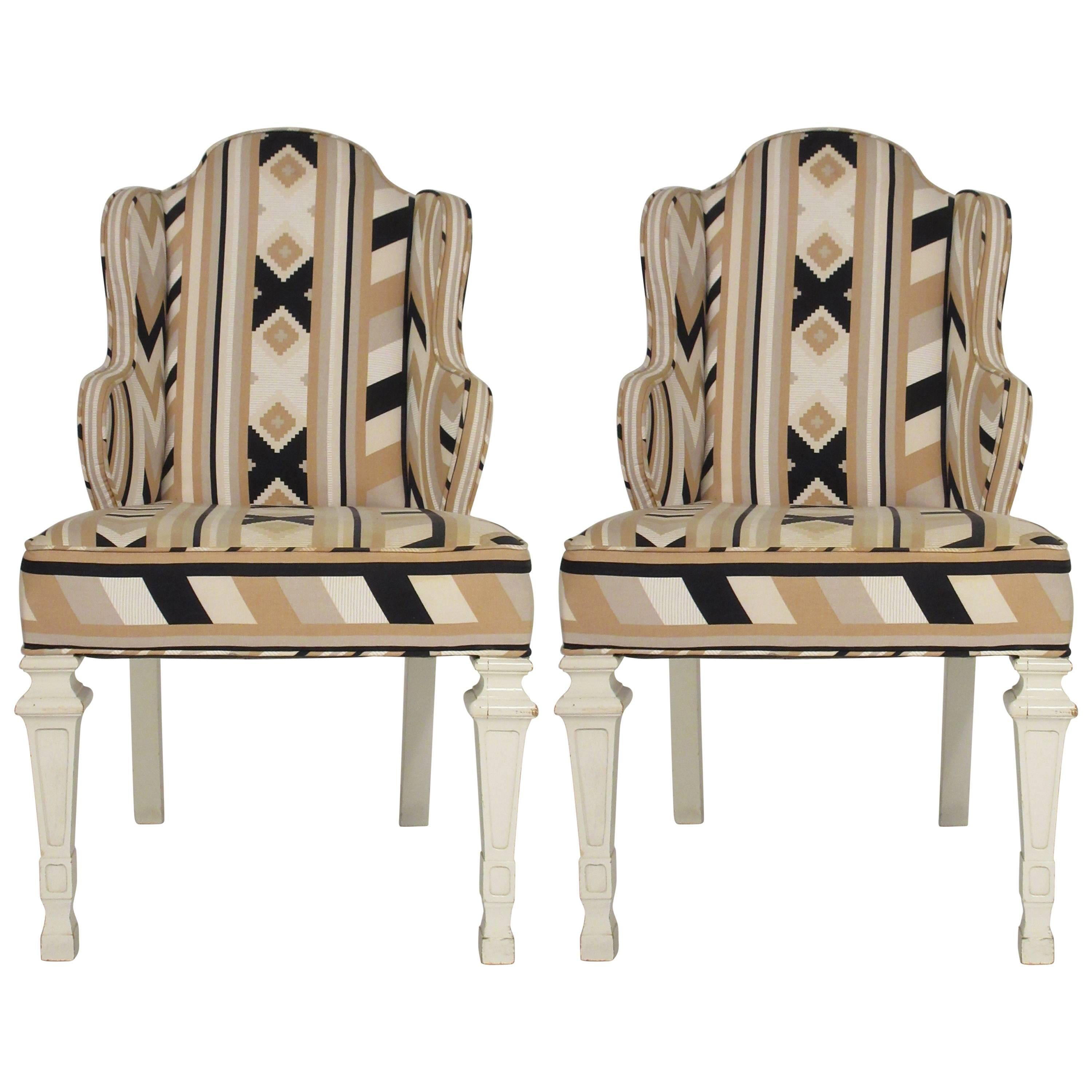 Pair Of 1960s Whimsical Petite Wing Back Chairs For Sale