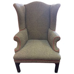 Very Smart Black and White Herringbone Wing Chair with Red Piping
