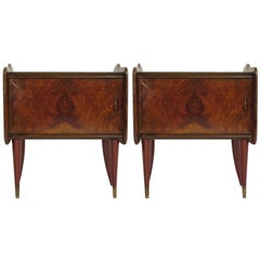Pair of 1940s Italian Walnut End Tables with Glass Tops