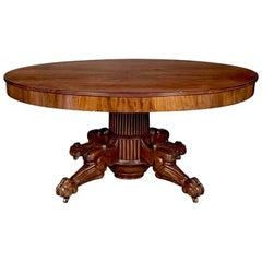 Period Regency Cuban Mahogany Round Dining Table