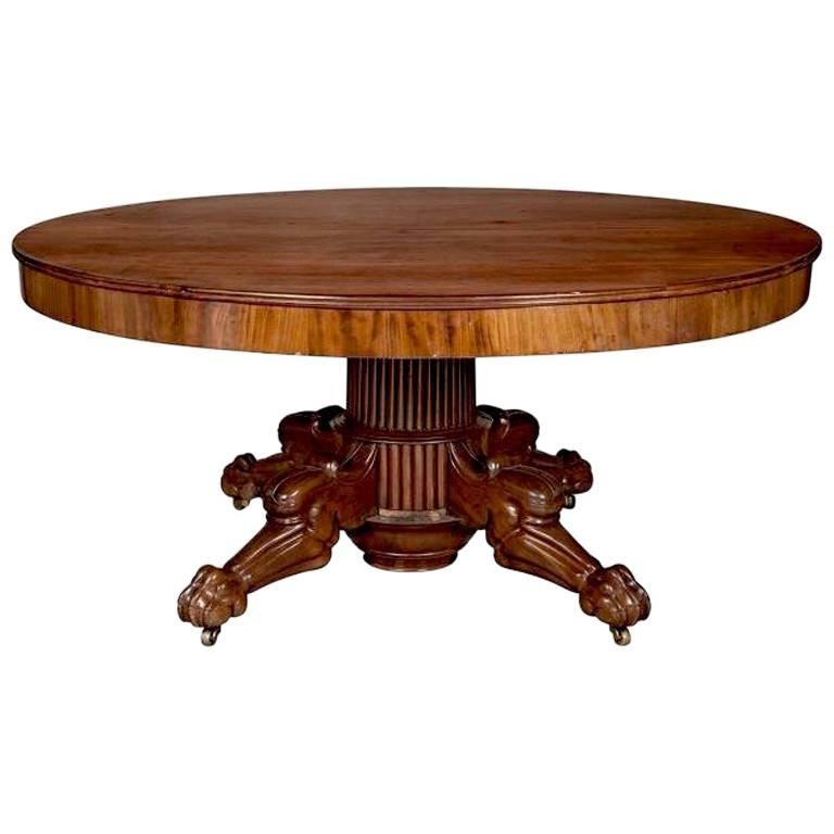 Period Regency Cuban Mahogany Round Dining Table For Sale