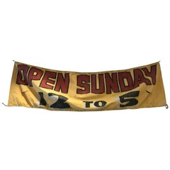 "Vintage Hand-Painted Hanging Canvas Advertising Signage ""Open Sunday 12 to 5"""