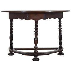 Italian Walnut Early 18th Century Demilune Console Table