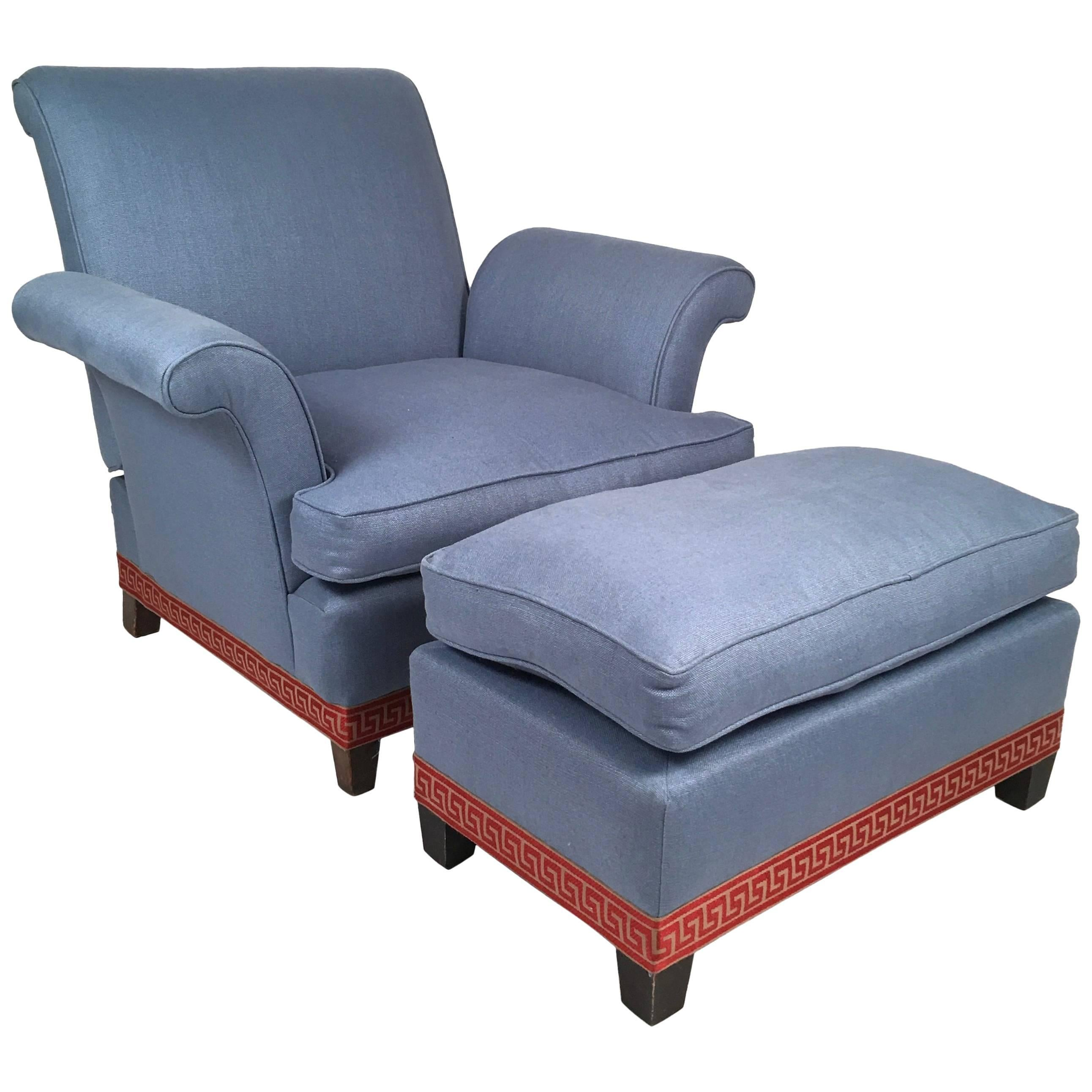 Incroyable Reclining Club Chair With Ottoman, Circa 1920s For Sale