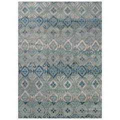 'Bali, Grey/Blue' Hand-Knotted Tibetan Rug Made in Nepal by New Moon Rugs