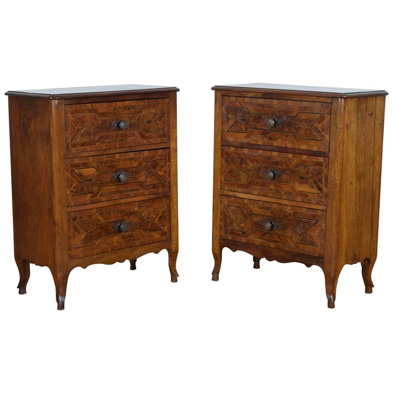 Pair of Italian, Piemonte, Walnut and Fruitwood Bedside Commodes, 19th Century