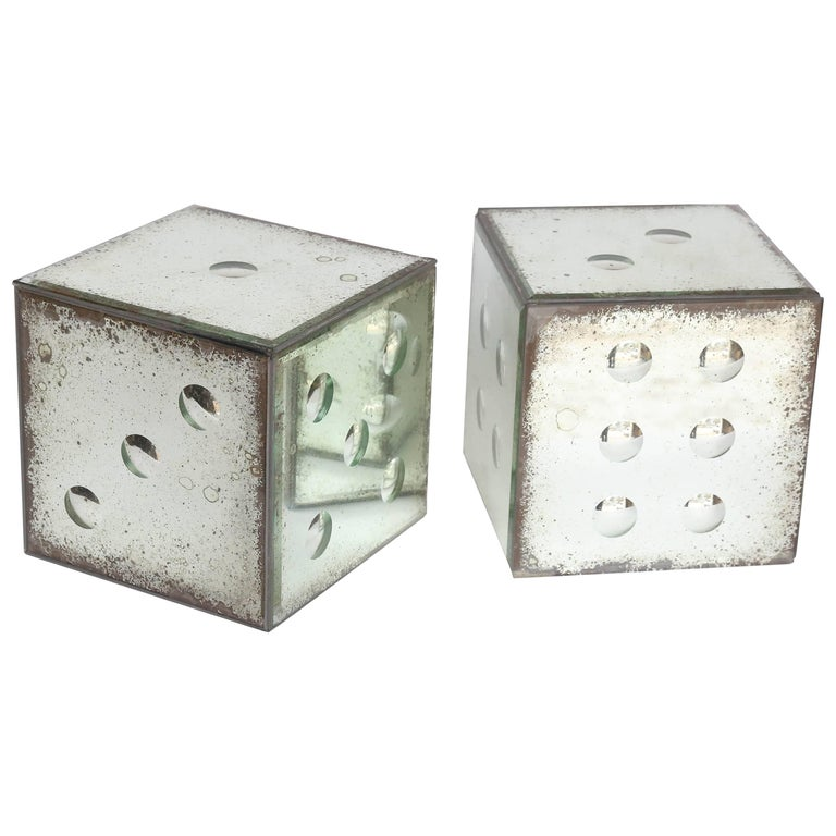 Pair of Mirrored Glass Dice