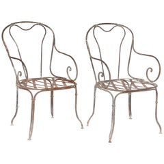 Pair of Metal Garden Chairs, France