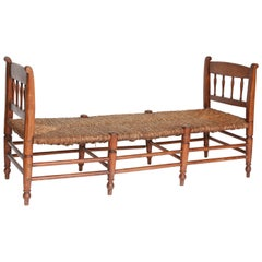 Antique Rush Seat Bench from France