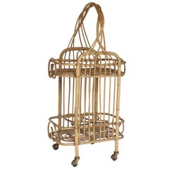 Vintage French Rattan Bar Cart