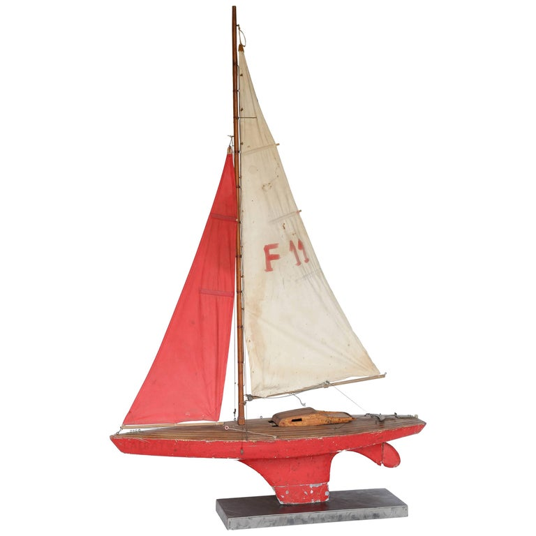 Large Sailboat Model on Custom Metal Stand