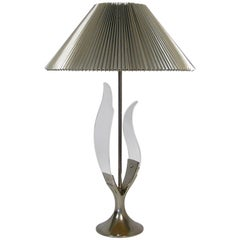 "1970s Chrome and Lucite ""Tulip"" Table Lamp by Laurel"