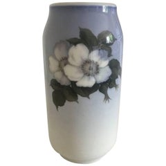Royal Copenhagen Vase #693/2304 with a Motif of Two White Roses and a Bee