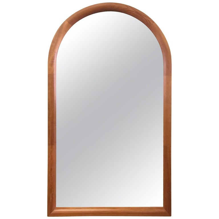 Large Danish Arched Top Teak Mirror by Jesper International For Sale