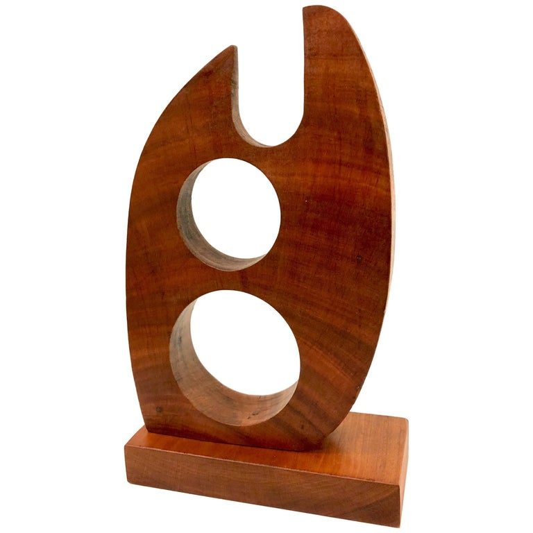 Mid-Century Modern Abstract Solid Walnut Small Sculpture For Sale