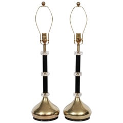 Pair of Brass, Stacked Faceted Lucite Crystal & Black Enamel Table Lamps, 1960's