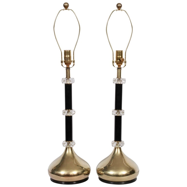 Pair of Frederick Cooper Stacked Lucite, Black Enamel and Brass Table Lamps