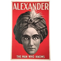 Original Alexander 'The Man Who Knows' Magician Poster