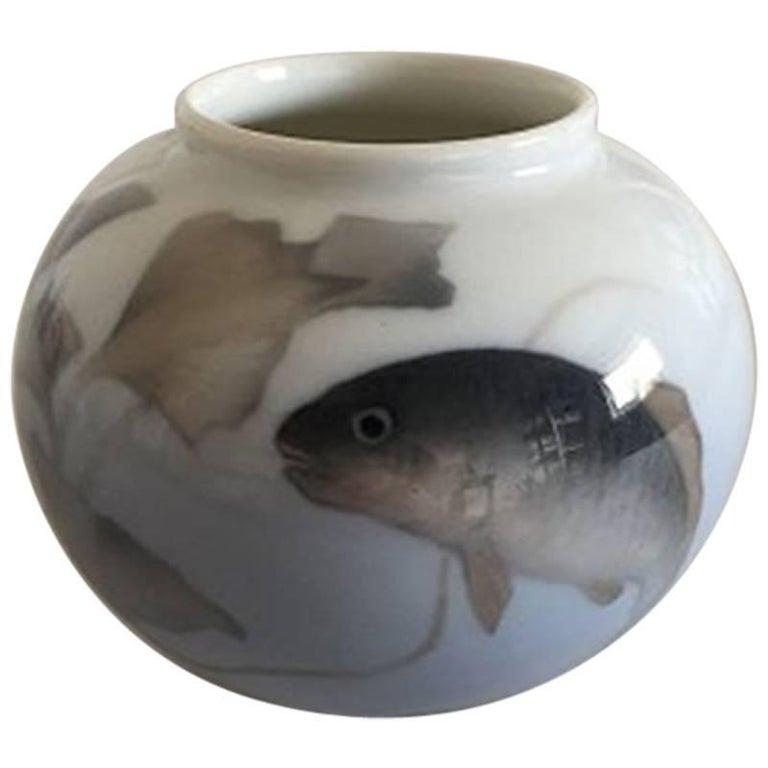 Royal Copenhagen Art Nouveau Vase with Fish #1217