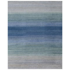 'Fade, Blues' Hand-Knotted Tibetan Rug Made in Nepal by New Moon Rugs