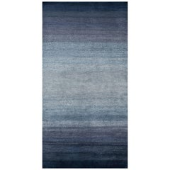 'Fade, Indigo' Hand-Knotted Tibetan Rug Made in Nepal by New Moon Rugs