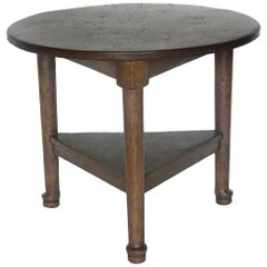 Custom Round Walnut Table with Shelf