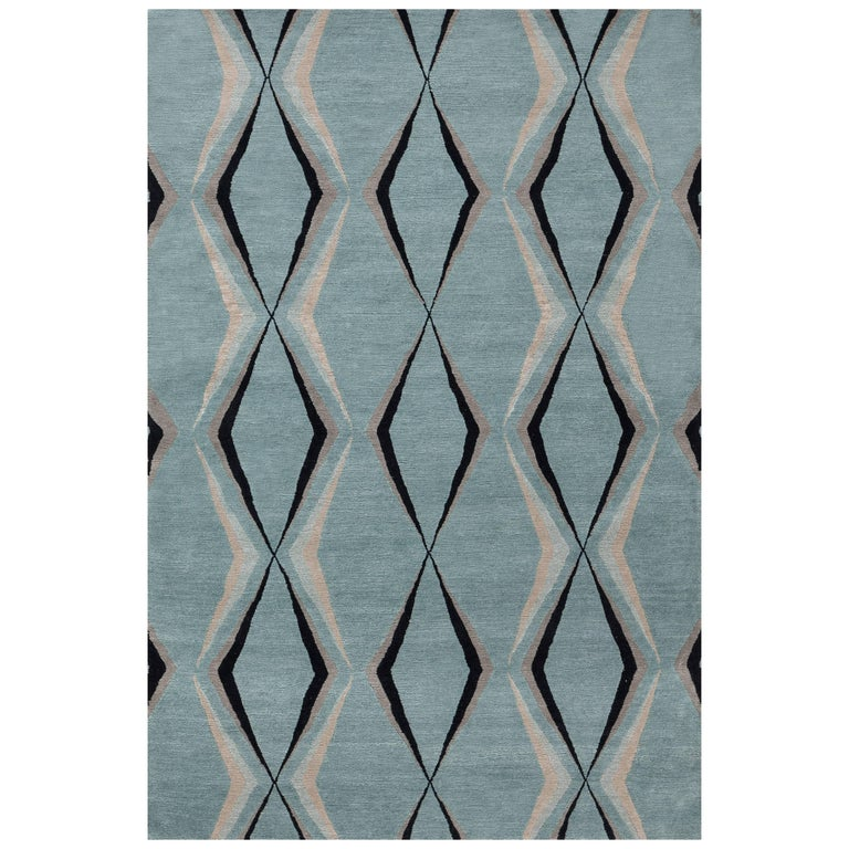 Jeu, Mineral' Hand-Knotted Tibetan Rug Made in Nepal by New Moon Rugs